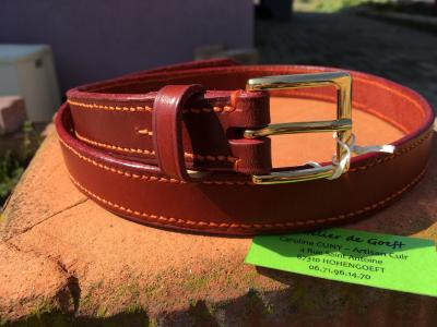 Ceinture cuir rouge / orange